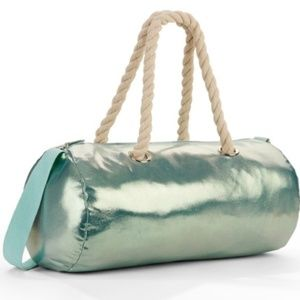 Metallic Blue Overnight Weekender Duffle Bag